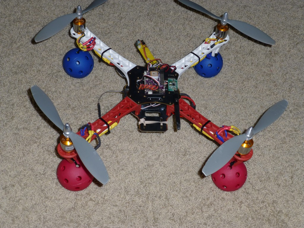 Quadcopter with Wiffle Ball legs