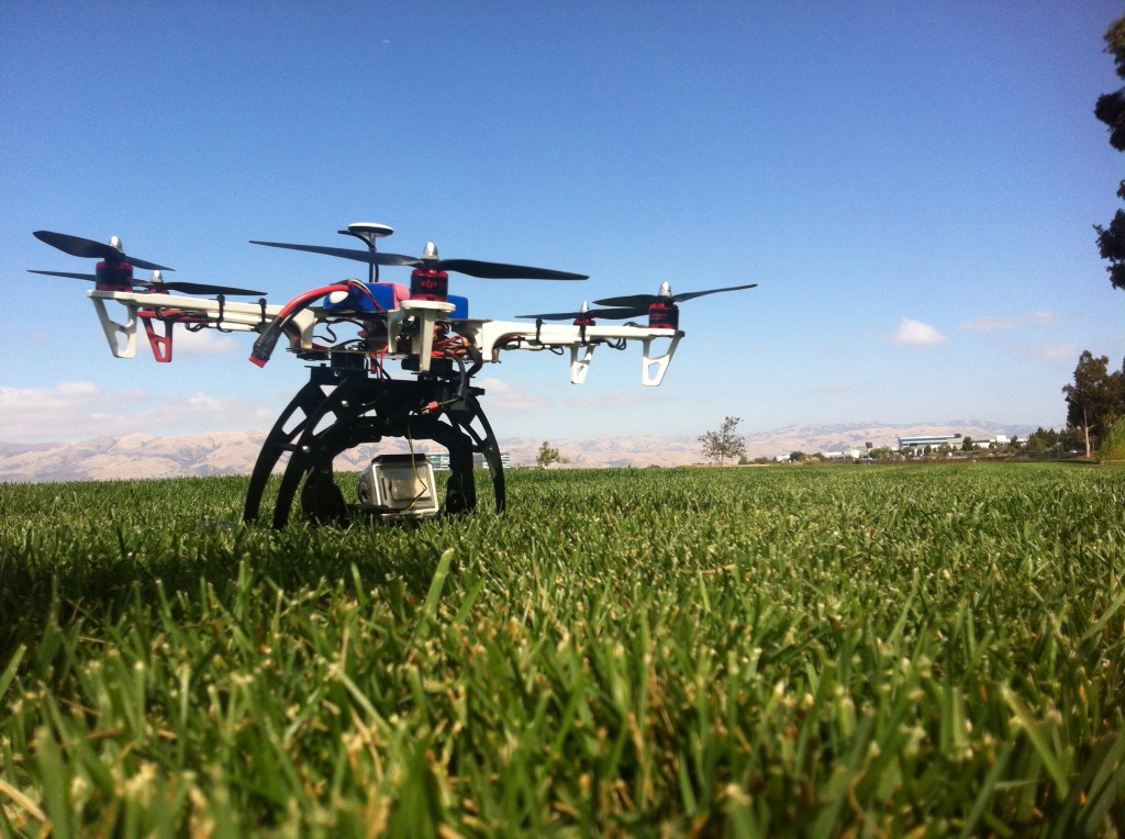 Hexacopter with gimbal in grass